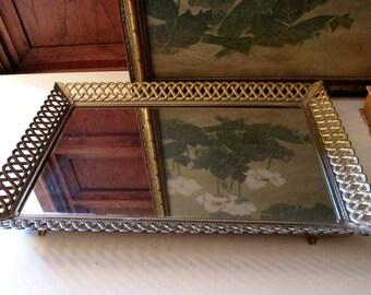 Gilded Vanity Mirror Tray, Gilded Wall Mirror, Hollywood Regency Standing Mirror, Mirrored Perfume Tray