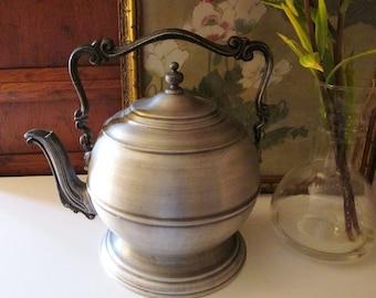 Seymour Mann Pewtertone Ice Bucket, Pewter Style Teapot Ice Bucket, Vintage Bar Cart, Retro Ice Bucket, Made in Italy