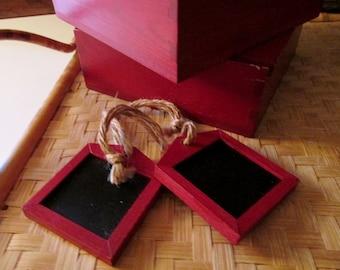 Set of Six Chalkboard Napkin Rings, Tags, Wine Label, Etc. Pottery Barn, Red Wood Box Set of Chalkboard Tags