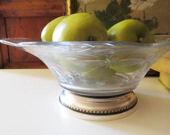 Vintage Large Crystal and Sterling Silver Bowl, Centerpiece Bowl, Fruit Bowl, Thanksgiving Decor, Christmas Decor, Elegant Dining