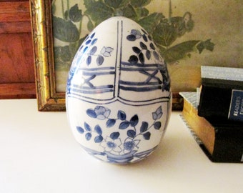 Chinoiserie Easter Egg, Decorative Blue and White Egg, Easter Table Decor, Spring Blue and White Decor