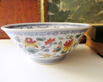Vintage Oriental Bowl, Chinoiserie Flowers, Footed Greek Key Bowl, Coffee Table Decor, Chinoiserie Chic Decor