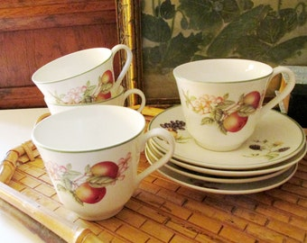 English Set of Four Cup and Saucers, English Porcelain Fruit Theme Teacup and Saucers, Breakfast Cups