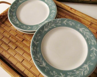 Six Vintage Shenango Small Plates, Hotel China, Cheese Plates, Turquoise Plates, Mid Century Restaurant Ware, USA Bread and Butter Plates