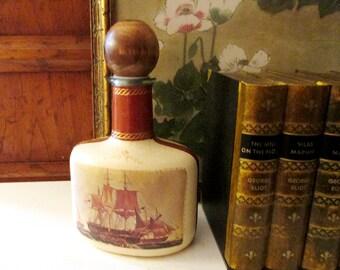Italian Leather Decanter, Vintage Bar Decanter, Library Decor, Retro Bar, Vintage Decanter, Nautical Clipper Ship Decanter