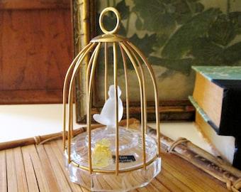 Vintage Decorative Birdcage, Echt Vergoldet, Western Germany, 24% Lead Crystal,Satin Glass Bird, Hollywood Regency, Chinoiserie Chic