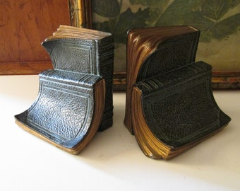 """Vintage Ronson Bookends, Hollywood Regency 1940's Trompe l' Oeil Book Shaped Bookends, Cast Metal with Verdigris """"Leather"""" Books"""