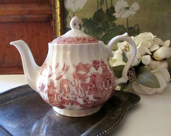 Vintage English Pink Willow Teapot, Royal Wessex, Made in England Teapot, rChinoiserie Chic, Tea Party Deco