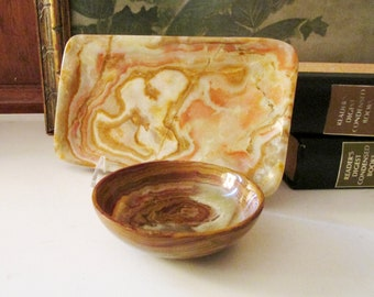 Vintage Stone Agate Tray and Bowl, Home Office Decor, Pencil Tray and Trinket Bowl, Hollywood Regency