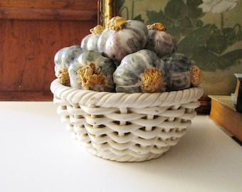 Vintage Art Ceramic Basket of Garlic, Capodimonte Style Woven Basket, Made in Spain, Gift For Chef, Coffee Table Decor, Vintage Gift