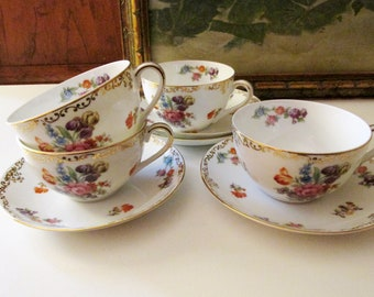 """Vintage Set of Four Noritake """"Dresdoll"""" Teacups and Saucers, Dresden Style, Romantic Teacups"""
