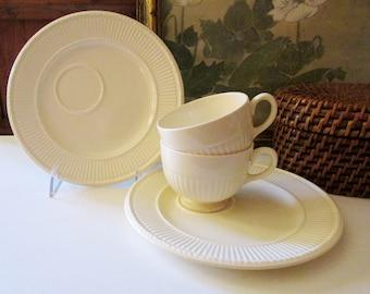 Vintage Pair of Wedgwood Edme Teacups and Snack Trays, Creamware, Grandmillenial Tea, Tea Party China