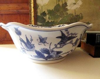 Vintage Blue and White Bowl, Chinoiserie Blue Transferware, Palm Beach Decor, Blue And White Decor, Centerpiece Bowl