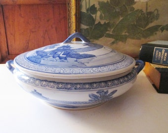 Chinoiserie Blue and White Serving Dish, Antique Style Canton Lidded Dish or Tureen, Blue Transferware Decorative Bowl