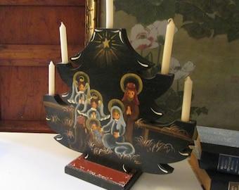 Vintage  Hand Painted Vatican Nativity Candle Holder Angel, Nativity Folk Art Angel, Signed Russian Style Folk Art Christmas