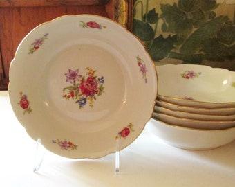 Vintage Set of Six Bowls, Floral Soup Bowls, Meissen Flowers Style, Made in Poland, Dessert Bowls