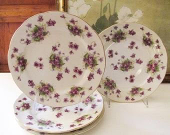 """Four Lefton China """"Violets"""" Salad Plates, Vintage Hand Painted Plates, Romantic Porcelain Floral Plates, Tea Party Decor"""