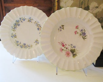 Two Crown Staffordshire Shallow Bowls, Wildflowers, Bluebell Floral English, Ruffled Dessert Plates