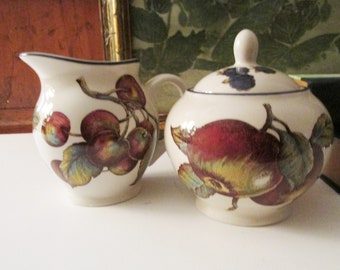 Vintage England Pier 1 Sugar Bowl and Creamer, Macintosh, English Country Kitchen, Apples, Pears, Cherries