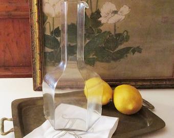 "Vintage Kosta Buda Glass Carafe, ""Oktav"" Decanter, Hexagonal Wine Pitcher, Sweden. Bertil Vallien Design"