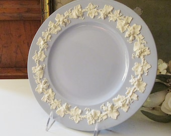 1950's Wedgwood Queensware Embossed Dinner Plate, Lavender Blue Grapes and Vines, England Grandmillennial Style
