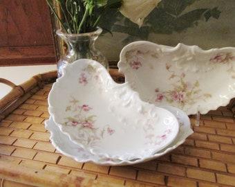 Three Theodore Haviland France Bone Plates, Cresent Floral Side Plates, Romantic China, Haviland Limoges