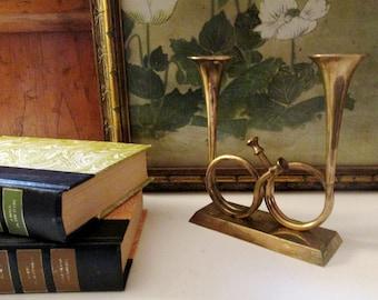 Brass French Horn Candlesticks, Enesco, Holiday Brass Decor, Trumpet Vase, Hollywood Regency Decor, Mantle Decor