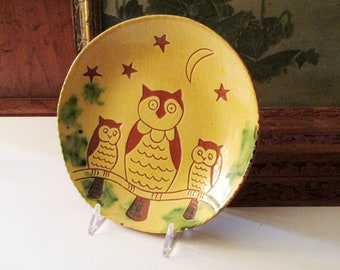 Vintage Breininger Pottery Owl Dish, Collectible Red Clay Pottery Dish, 1990's Art Pottery