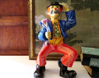 Vintage Mexican Paper Mache Clown, Tall Hobo Style Clown with Flowers, Hand Painted Mexican Folk Art