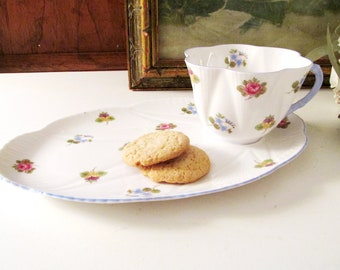 Vintage Shelley England Dainty Rose, Pansy and Forget Me Not Snack Set, Teacup, Mother's Day Gift, Tea Party Decor