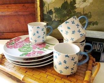 Vintage Gloria Vanderbilt Taste Setter By Sigma Dessert Sets, Set of Four, Retro Snack Plates And Cups, Luncheon Set, Tea Set, 1970's