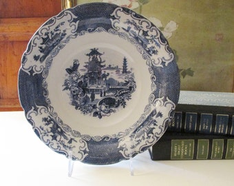 """Vintage Allertons England """"Chinese"""", Blue Transferware Chinoiserie Chic Bowl, Blue White Decor, Serving Bowl, Pagoda, Blue Willow Style"""