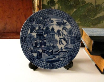 Vintage Mottahedeh Blue Willow Tile, Historic Charleston Reproductions, Chinoiserie Blue and White Tea Trivet, Oriental Decor, Entry Table