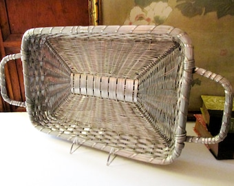 Vintage Woven Tray, Silver Metal Basketweave Tray, Home Office Decor, Bar Cart Tray