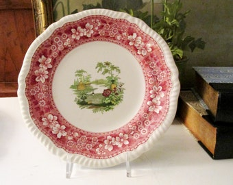 Antique Spode's Merrimount Salad Plate, Red Transferware, Oriental Style, Grandmillennial Decor, Romantic English Ironstone China,