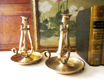 Vintage Brass Swivel Candlesticks, Farmhouse Chic, Wall Candleholders, Tabletop, Wall Sconce and Chamberstick Holder Combination