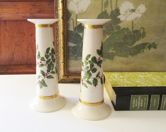 Vintage Lenox USA Holiday Candlesticks, Christmas Holly Leaf Candleholders, Christmas Decor, Mantel Decor, Elegant Christmas