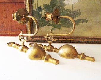 Vintage Pair of Brass Candlestick Sconces, Traditional Decor, Wall Gallery Decor, Brass Decor