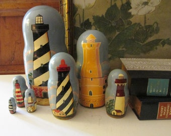 2001 Russian Hand Painted Lighthouse 7 Piece Nesting Dolls Set, Golden Cockerel, Made in Russia, Gift For Lighthouse Lover, Nautical Wooden