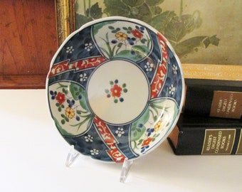 Vintage Imari Dish, Chinoiserie Round Dish, Porcelain Nut Dish,Home Office Decor, Hollywood Regency, Oriental Trinket Dish