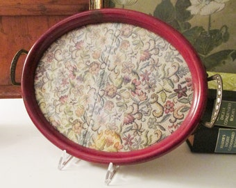 Vintage Perfume Tray with Tapestry Insert, Handled Wood Oval Tray, Vintage Gift, Vanity Table Decor, Boho Chic, Granny Chic