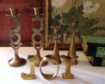 Brass Angels and Joy Candleholders, Assorted Christmas Candlesticks, Christmas Brass Decor, 7 pc Christmas Mantel Decor, Joy Candlesticks