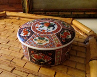 Vintage Blue and Coral Imari Trinket Box, Japanese Trinket Box, Palm Beach Decor, Chinoiserie Porcelain Box