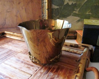 Vintage Hand Made Colonial Virginia Brass Cachepot, Petite Brass Pot, Ornate Footed Pot, Brass Decor, Brass Pot, Brass Vessel