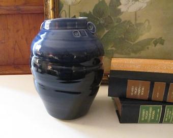 Vintage PSM Studio Vase, Blue Pottery Vase, Peter S. MacDougall, Art Pottery Vase, Signed Blue Glazed Vase