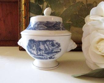 """Vintage Estee Lauder Trinket Box, Lion's Footed Dish, """"Quatre Saisons"""", Blue and White Decor"""