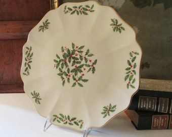 Vintage Lenox USA Holiday Tray, Holly Leaves, Porcelain Cake Plate, Lenox Holly and Berries, Dessert Plate, Christmas Table Decor, 24K Gold