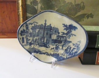 Vintage Victoria Ware, Reproduction Blue Transferware Footed Dish, Decorative Blue and White Tray, Home Office Decor,  Catchall