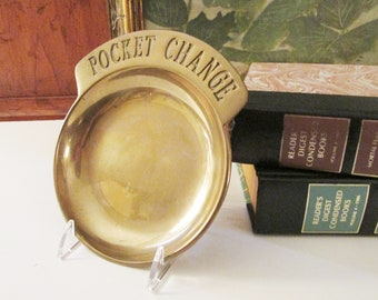 Vintage Brass Heavyweight Tray, Solid Brass Pocket Change, Gift for Dad Trinket Tray, Brass Catchall, Father's Day Gift
