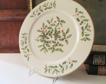 """Vintage Lenox USA """"Holiday"""" Round Chop Plate, Special Christmas Tray, Xmas Dining, Holly Leaves Dessert Plate"""